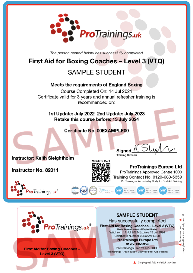 Sample First Aid for Boxing Coaches Level 3 (VTQ) Classroom Certificate