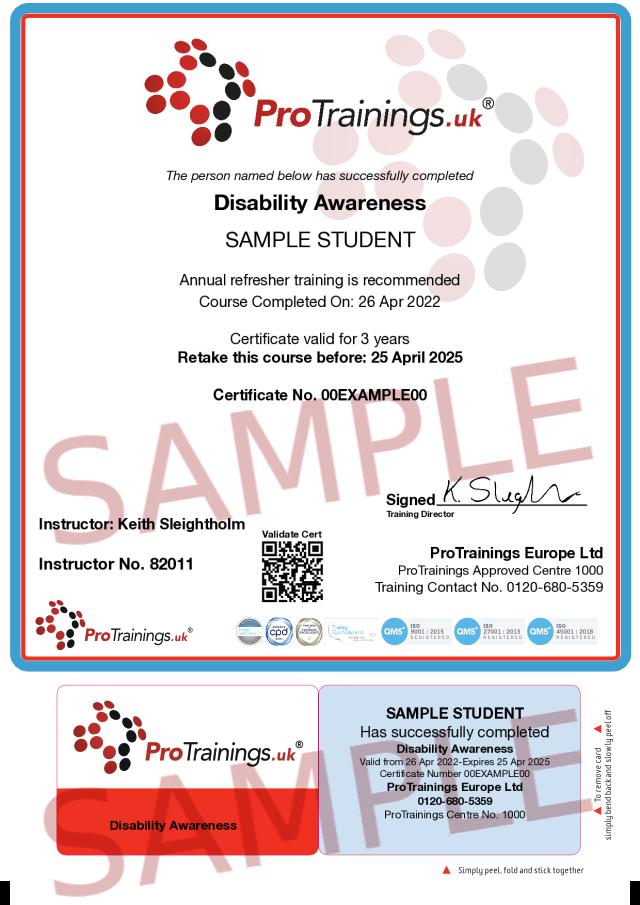 Sample Disability Awareness Classroom Certificate