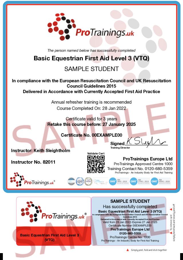 Sample Basic Equestrian First Aid Level 2 (VTQ) Classroom Certificate