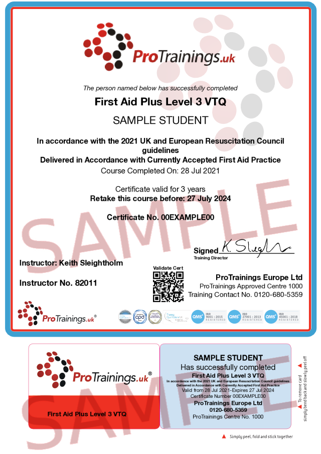 Sample First Aid Plus Level 3 (VTQ) - blended part 2 Classroom Certificate