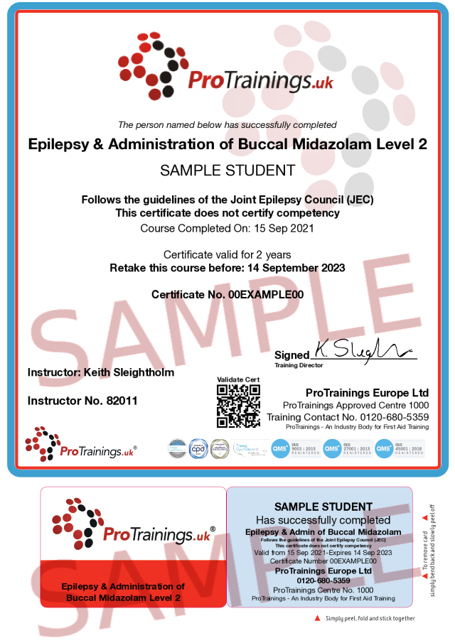 Sample Epilepsy Awareness and Administration of Buccal Midazolam Level 2 (VTQ) - blended part two Classroom Certificate