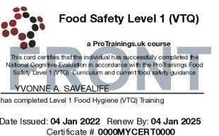 Sample Food Hygiene Level 1 Card Front