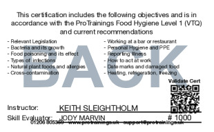 Sample Food Hygiene Level 1 Card Back
