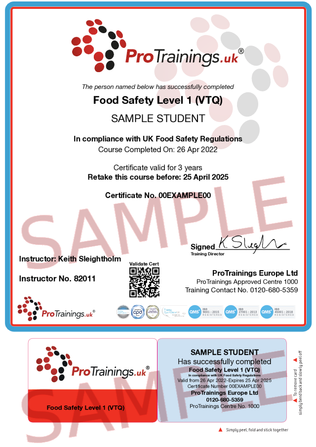 Sample Food Hygiene Level 1 Classroom Certificate