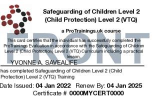 Sample Safeguarding of Children (Child Protection) Level 2 (VTQ) Card Front