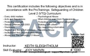 Sample Safeguarding of Children (Child Protection) Level 2 (VTQ) Card Back