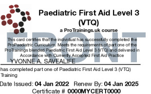 Sample Paediatric First Aid Level 3 (VTQ) Card Front