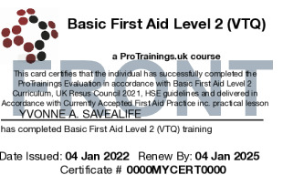 Sample Basic First Aid Level 2 (VTQ) Card Front