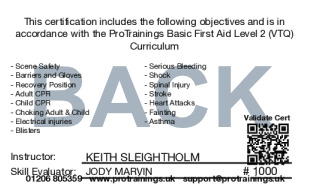 Sample Basic First Aid Level 2 (VTQ) Card Back