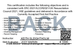 Sample Paediatric First Aid Level 3 (VTQ) Card Back