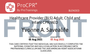 Sample Healthcare Provider CPR Card Front