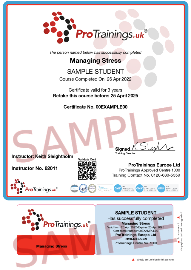 Sample Managing Stress Classroom Certificate
