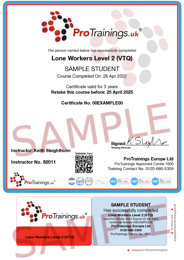 Sample Lone Workers Level 2 (VTQ) Classroom Certificate