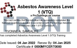 Sample Asbestos Awareness Level 1 (VTQ) Card Front