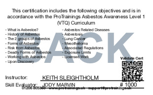 Sample Asbestos Awareness Level 1 (VTQ) Card Back