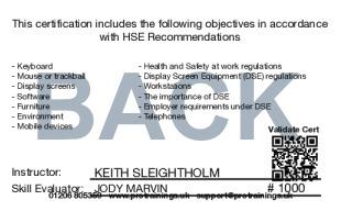 Sample DSE/VDU Operator Safety Level 2 (VTQ) Card Back