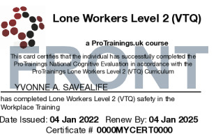 Sample Lone Workers Level 2 (VTQ) Card Front