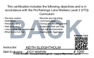 Sample Lone Workers Level 2 (VTQ) Card Back