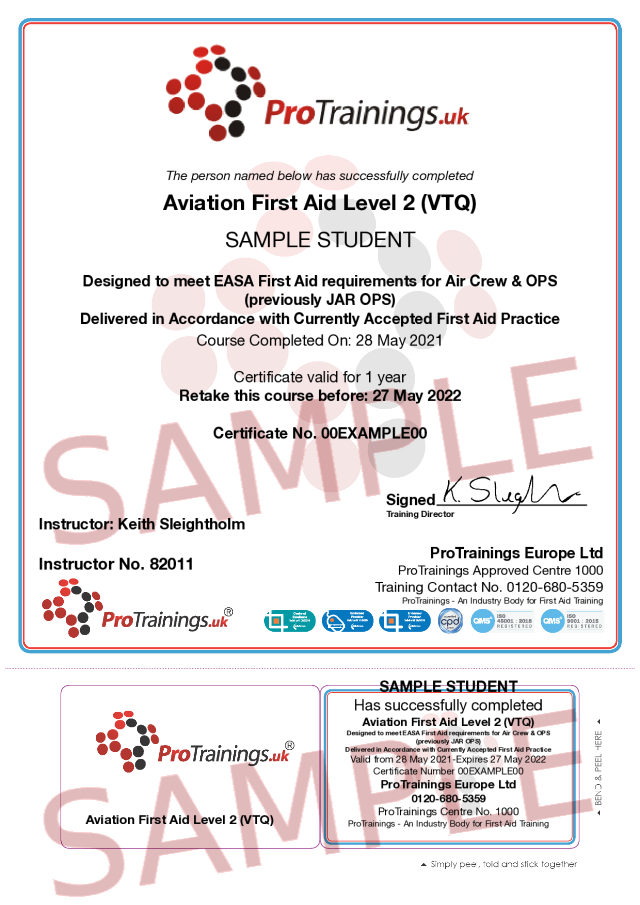 Sample Aviation First Aid Classroom Certificate