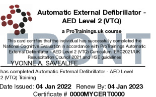Sample Automatic External Defibrillator - AED Level 2 (VTQ) Card Front