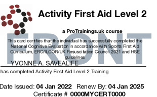 Sample Activity First aid online and blended part 1 Card Front
