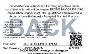 Sample Automatic External Defibrillator - AED Level 2 (VTQ) Card Back