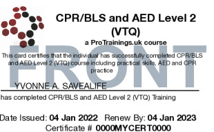Sample CPR/BLS and AED Level 2 Card Front