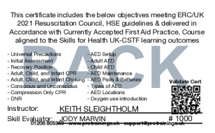 Sample CPR/BLS and AED Level 2 Card Back