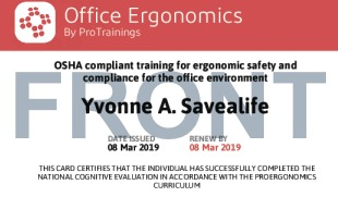 Sample Office Ergonomics Card Front