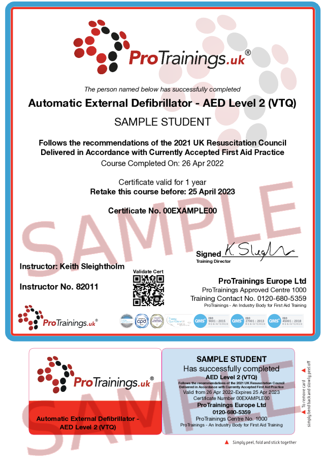 Sample Automatic External Defibrillator - AED Level 2 (VTQ) Classroom Certificate