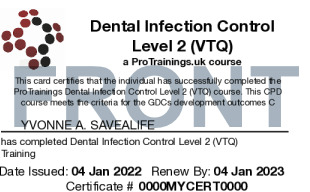 Sample Infection Control for Dentists Card Front