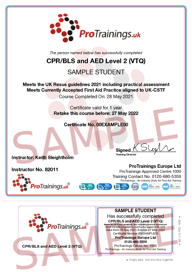 Sample CPR/BLS and AED Level 2 Part 2 Classroom Certificate