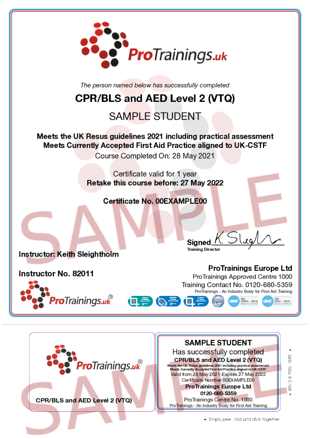 Sample CPR/BLS and AED Level 2 Classroom Certificate