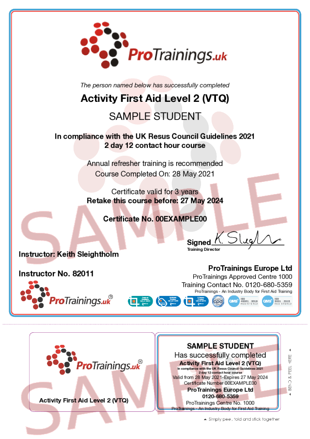 Sample Activity First Aid Classroom Certificate