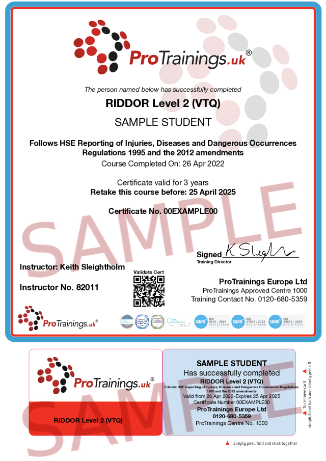 Sample RIDDOR Level 2 (VTQ) Classroom Certificate