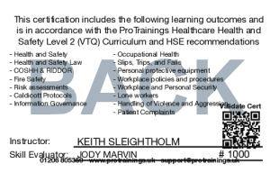 Sample Healthcare Health & Safety  Card Back
