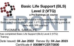 Sample Basic Life Support (BLS) Level 2 (VTQ) Card Front
