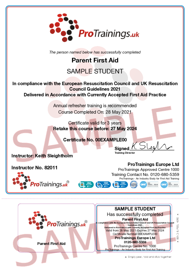 Sample Parent First Aid Classroom Certificate