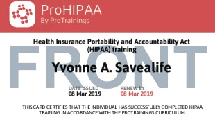 Sample HIPAA Card Front