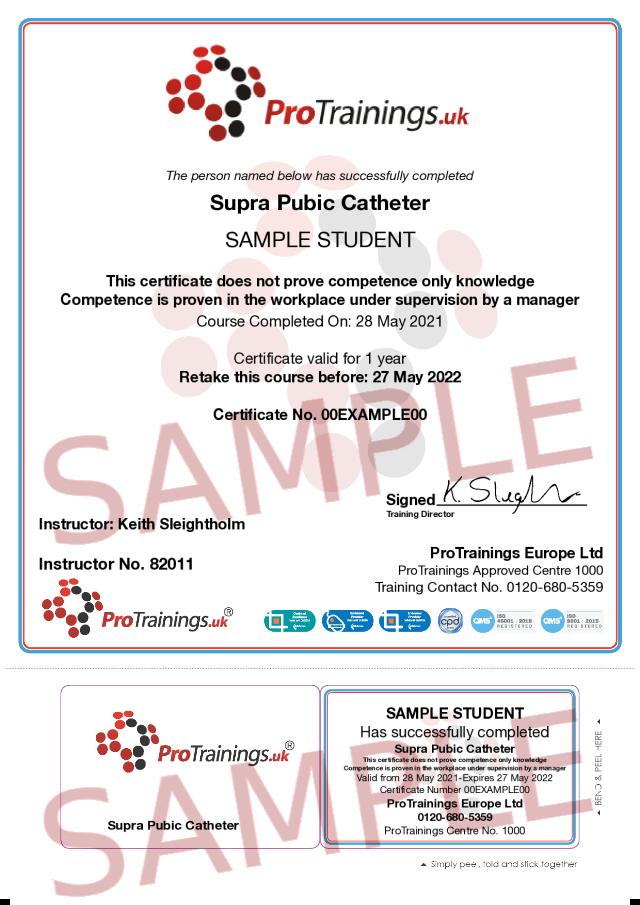 Sample Supra Pubic Catheter Classroom Certificate