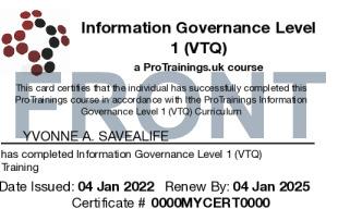 Sample Information Governance Level 1 (VTQ) Card Front