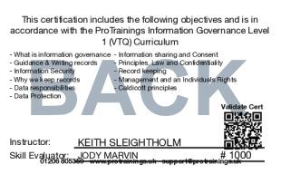 Sample Information Governance Level 1 (VTQ) Card Back