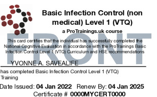 Sample Basic Infection Control Level 1 (VTQ) Card Front