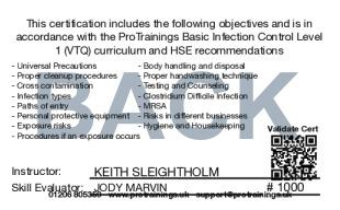 Sample Basic Infection Control Level 1 (VTQ) Card Back