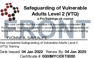 Sample Safeguarding of Vulnerable Adults (SOVA) Level 2 (VTQ) Card Front