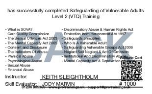 Sample Safeguarding of Vulnerable Adults (SOVA) Level 2 (VTQ) Card Back