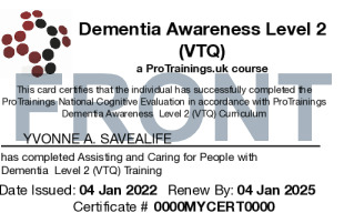 Sample Dementia Awareness Level 2 (VTQ) Card Front
