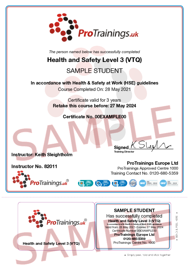 Sample Health and Safety Level 3 (VTQ) Classroom Certificate