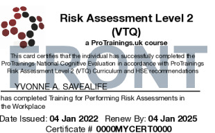 Sample Risk Assessment Level 2 (VTQ) Card Front
