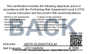 Sample Risk Assessment Level 2 (VTQ) Card Back